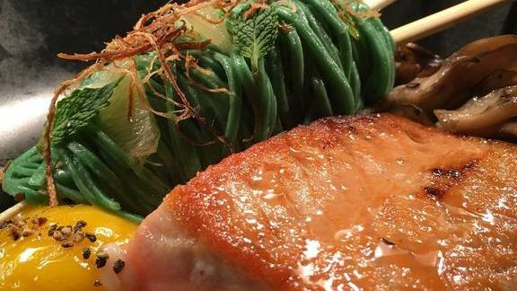 Chef Dean Fearing reviews Salmon, honey soy glaze, tea pasta, 145-degree egg yolk at