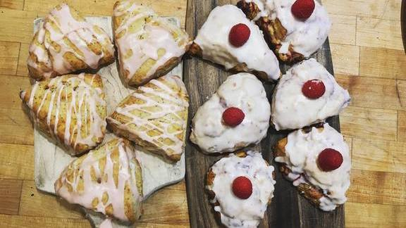 Grapefruit poppy and raspberry coconut scones at The General Muir
