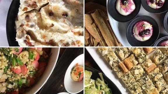 Tabbouleh salad, mashed potatoes, shrimp hors d'oeuvres, blueberry crumble at Joule