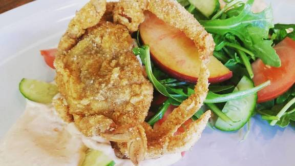Soft Shell Crab Salad with cucumber and peach at alaMar