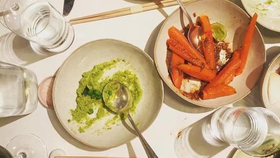 Pea Hummus and Warm Carrots  at abcv