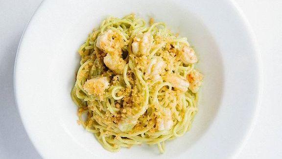 Chef Michael Mina reviews Tagliarini pasta tossed with fennel sofrito, basil pesto, green garlic butter and Florida rock shrimp at MINA Test Kitchen
