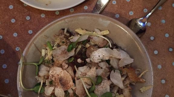 Chef William Dissen reviews Porcini & Ramp Fried Rice a la plancha at Le Crocodile Restaurant