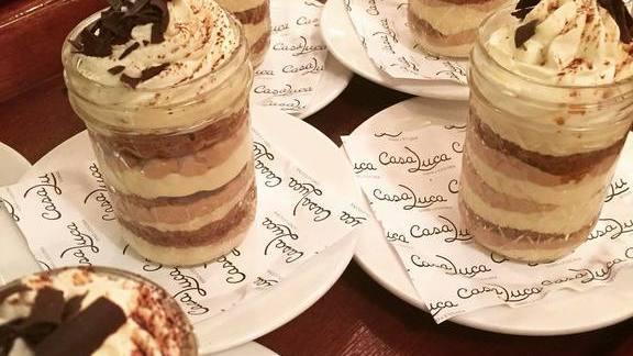 Tiramisu with chocolate shavings at Casa Luca
