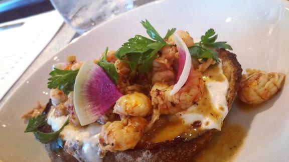 Crawfish Tartine at Willa Jean