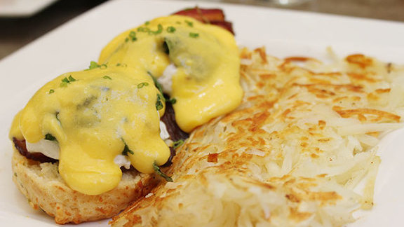 Steakhouse benedict at Town Restaurant