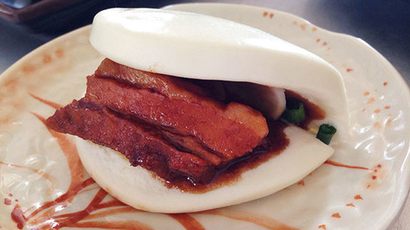 Braised pork belly buns at Myers + Chang