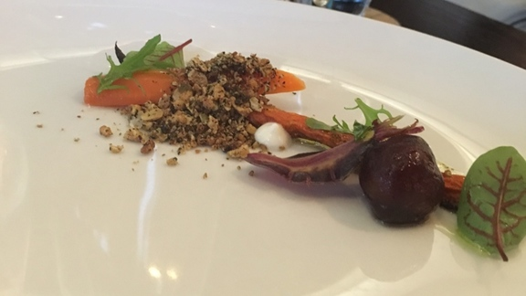 Roasted carrots, pistachio, granola, zatar, yogurt at Bluestem