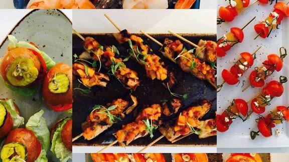 Chef Kim Canteenwalla reviews Skewered appetizers with vegetables and prawns at Honey Salt