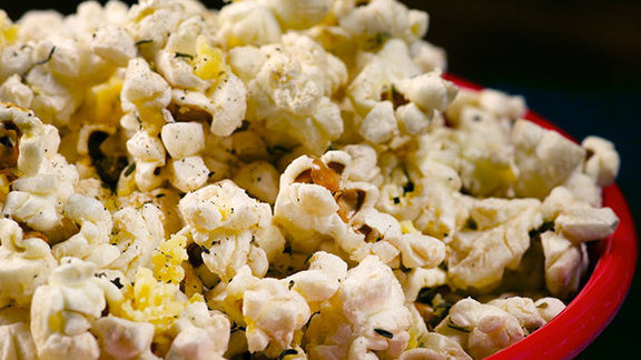 Chef Kir Jensen reviews Popcorn with olive oil, black pepper and parmesan at