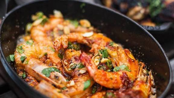 Shrimp with romesco and almonds at Proxi