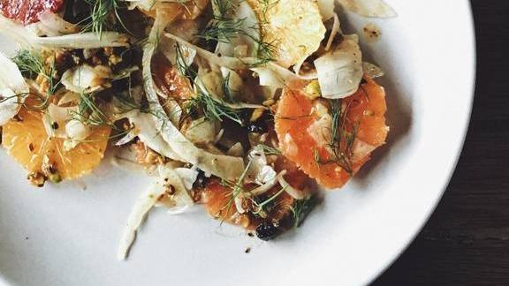 Citrus, fennel, and black olive salad at Ned Ludd