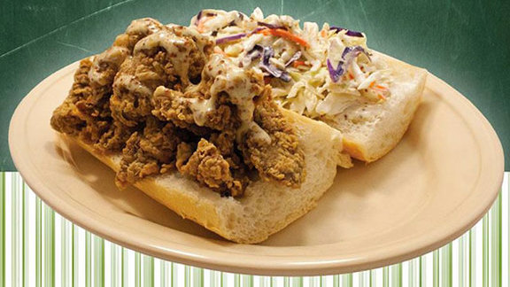 Chef Adolfo Garcia reviews Fried chicken livers and slaw po-boy at