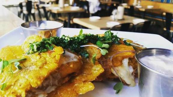 Happy Hour Crispy Plantain Crab Melt w/ Moroccan Chermoula and Tomato Lime Aioli at alaMar
