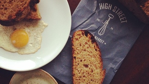 Coffee, eggs, and toast at High Street on Market