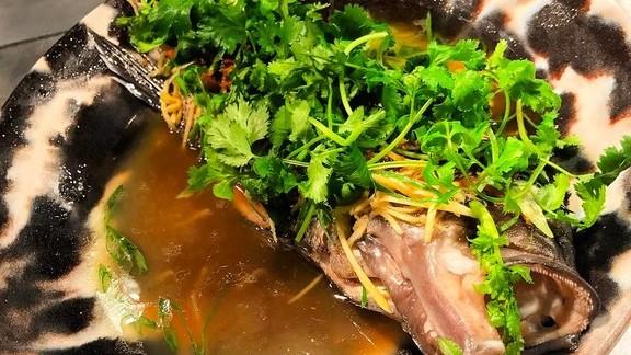 Whole steamed black sea bass at Tiger Mama