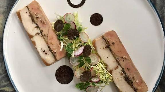 Pressé de foie gras et volaille with black winter truffles at Spring