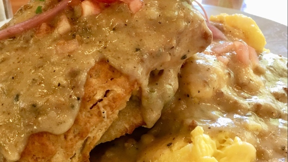 Biscuits and gravy at The Buttered Tin