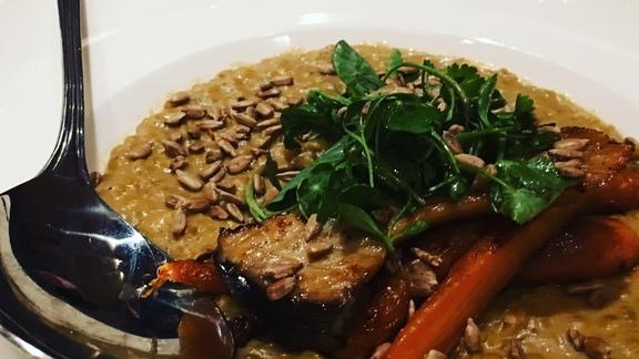 Lentils, pumpkin seed butter and root veg. Boom! at Bisl Food