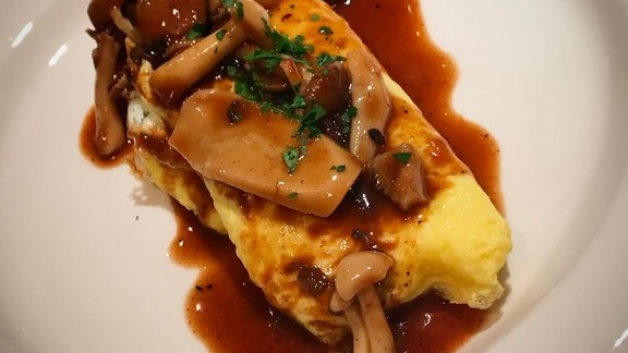 Cheese Omelette with Roasted Mushroom Duck Jus at Revival