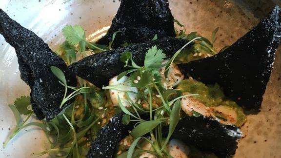 """Chef Nick Erven reviews Seaweed """"Doritos"""" with yuzu and togarashi guac, finger lime and hearts of palm at Erven"""