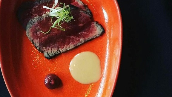 Chef Cameron Hanin reviews Beef, umeboshi, and inamona at Ma'ono Fried Chicken & Whisky