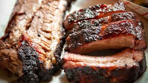 Baby back ribs at Two Bros BBQ Market