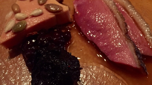 Chef Carrie Summer reviews Duck breast, foie, roasted beet at