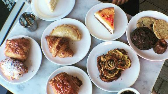 Cake, croissants, pastries and coffee at Proof Bakery