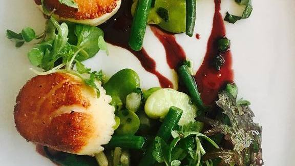 Scallops, chilled spring salad, ramp vinaigrette, roasted hen-red wine reduction at St. Cecilia