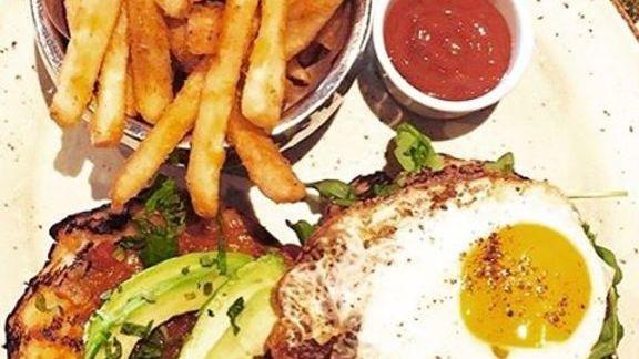 Lamb burger with mushroom and egg at Mantra Artisan Ales