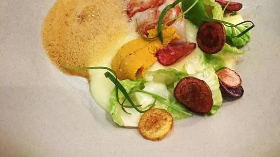 Butter-poached lobster, Santa Barbara uni, potato, brussels sprouts and lobster cream at Orsa & Winston