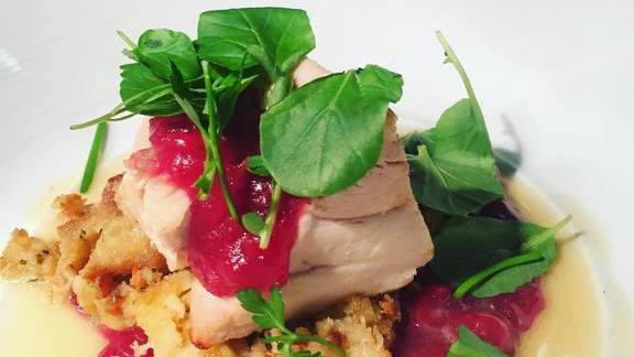 Turkey, cranberry and chestnut apple stuffing at Requin
