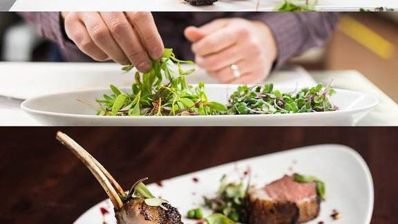 Hibiscus marinated lamb, spring peas, red beet gastrique, morel dust at Urban Farmer