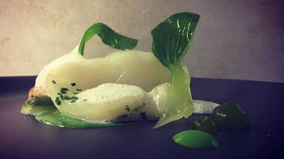 Chef Pascal Aussignac reviews Confit jasmine turbot, green almond pulp, spicy verbena oil at Club Gascon