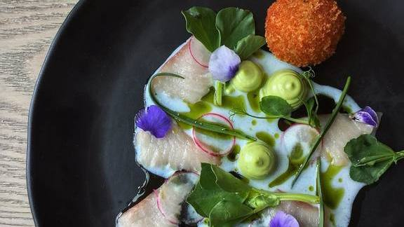 Hamachi crudo, brandade, buttermilk, wild garlic mayonnaise, fava tips and sea grass at Juniper