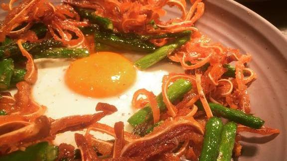 Chef Brian Redzikowski reviews Pig ears, asparagus, and egg at Kettner Exchange