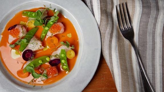 Mackerel Crudo, Carrot Brodo, Sugar Snaps & Lime at Il Buco Alimentari e Vineria