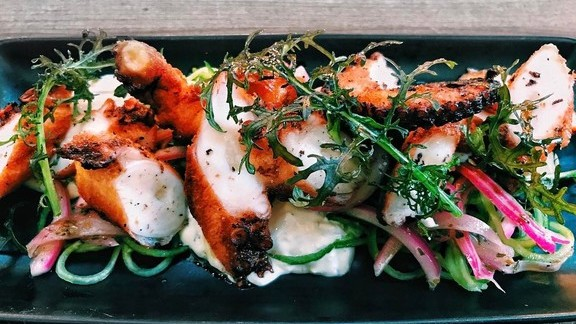Chef Timothy Hollingsworth reviews Octopus with red onion, cucumber and tzatziki at Otium