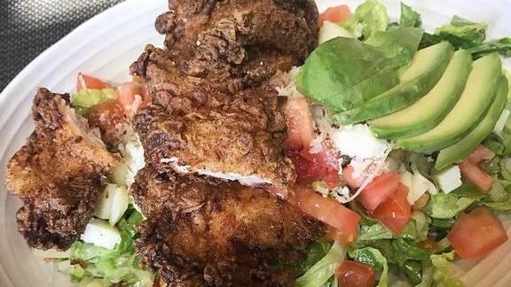 Chopped salad and fried chicken at Akasha