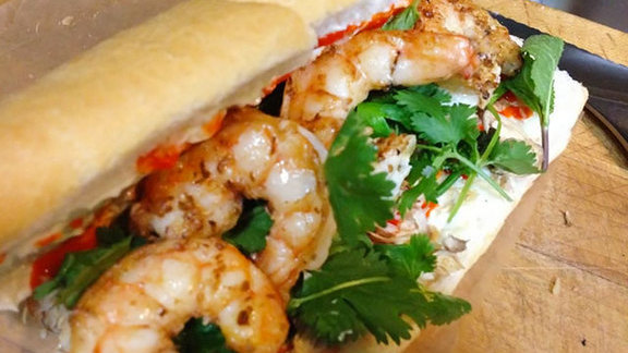 Seared gulf shrimp poboy at Killer PoBoys