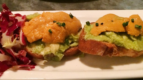 Uni avocado toast at Bar Crudo