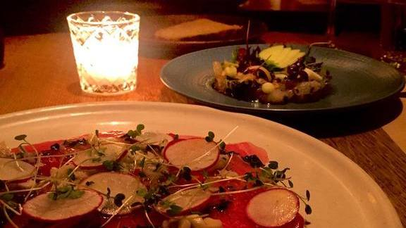 Carpaccio with radishes and sprouts at Little Park