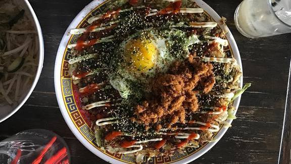 Egg, furikake, fried bits, and sauce at Xiao Bao Biscuit