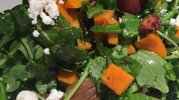 Autunno salad-roasted Ragusa violina squash, roasted grapes, candied pecans at Piccolo Sogno