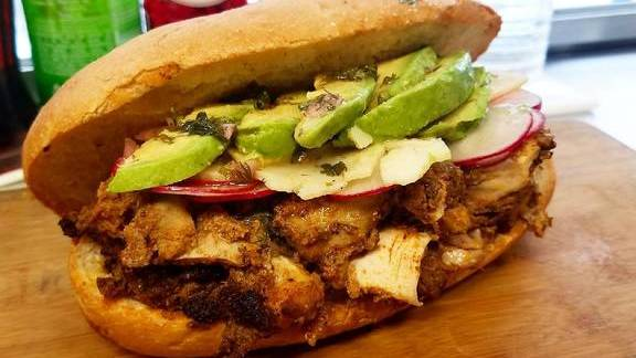 Chef Jacob Hunter reviews Chicken sandwich with radish, chimichurri, avocado, and cheddar at Dirty South Deli