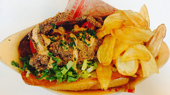 Chef Genevieve Gergis reviews Maryland soft shell blue crab po' boy at