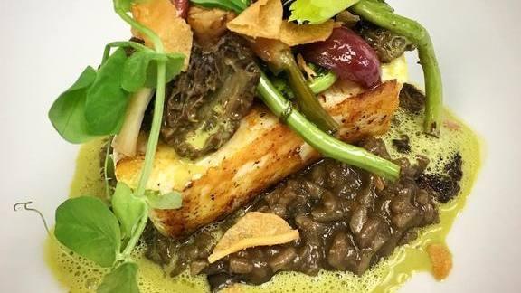 Chef Mark McEwan reviews Halibut, trumpet mushroom risotto, morel, fiddlehead ragu, Jerusalem artichoke crisps and spring garlic at ONE