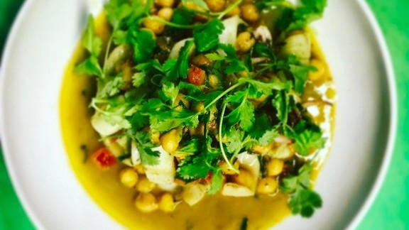 Squid with chickpea ragoût, coriander, and cilantro at SELECT Oyster Bar