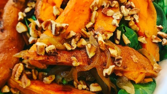 Chef William Kovel reviews Salad with roasted sweet potato, spinach, caramelized onions, pecans and maple bacon vinaigrette at Catalyst Restaurant